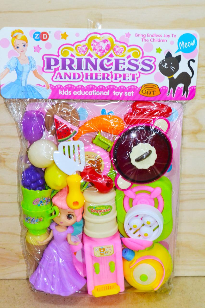 ZD894-90 Кухня и принцесса Princess and herpet мебель,овощи,посуда в пакете 36*25см