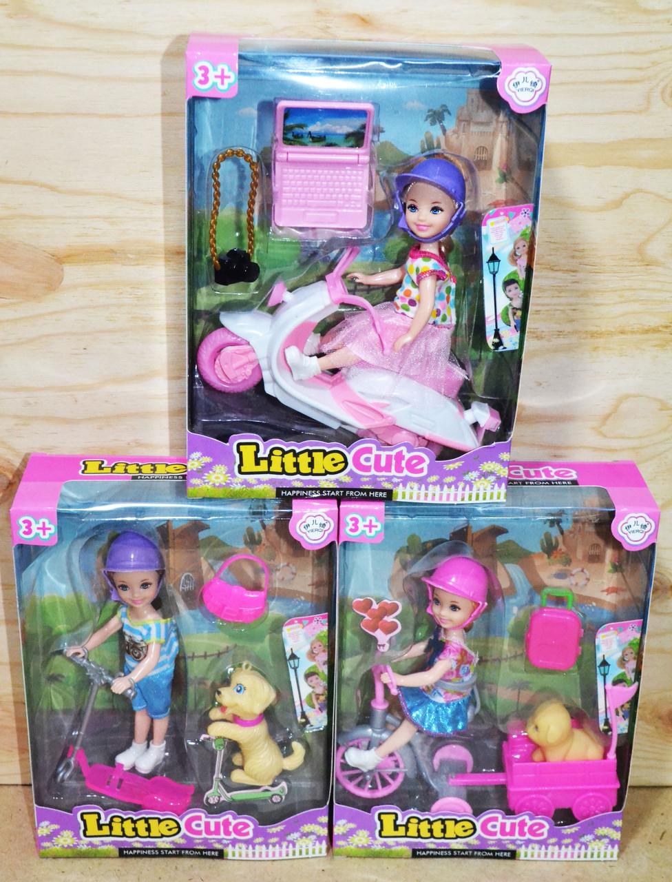 D17-125 Кукла с транспортом и питомцем с аксесс. 3 вида 6шт в уп., цена за 1шт 21*16см
