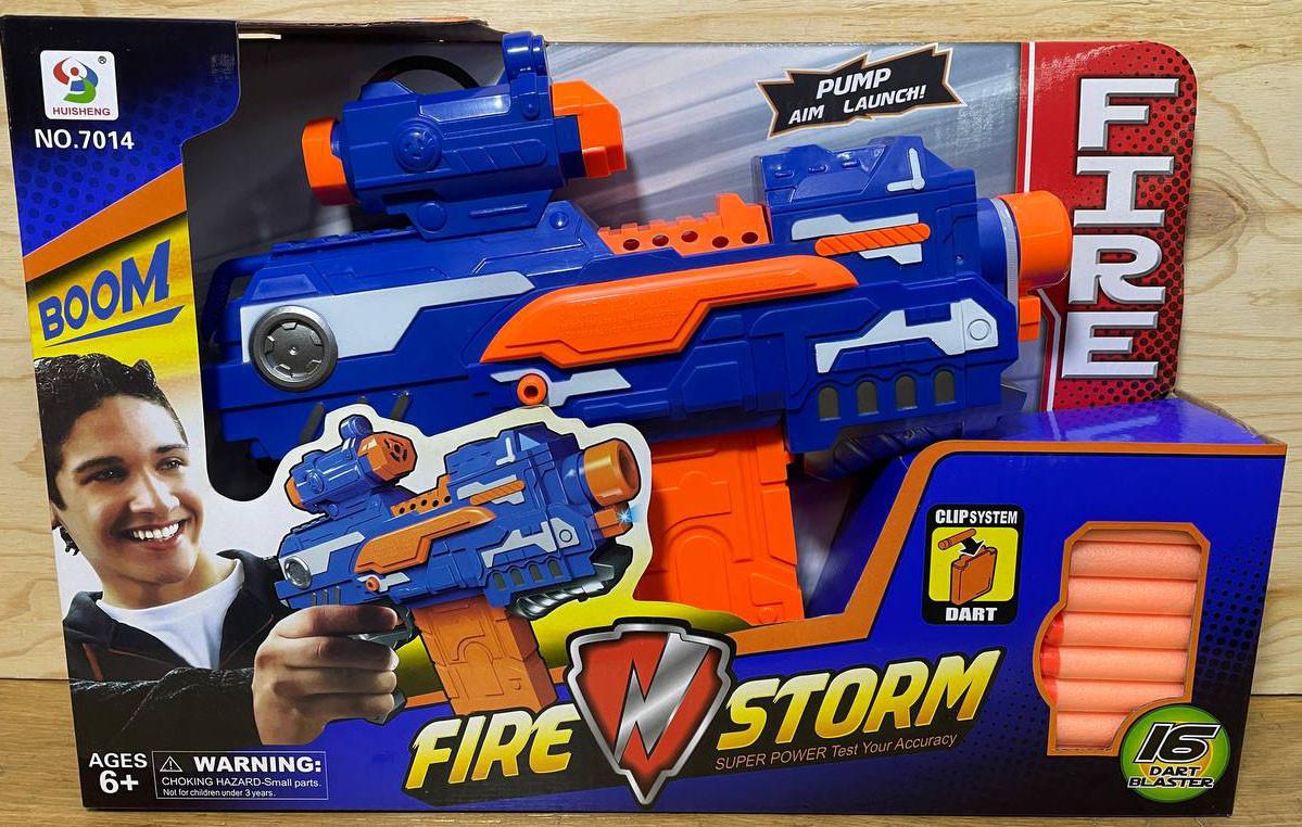 7014 Синий бластер Fire Storm 16 патронов 42*29