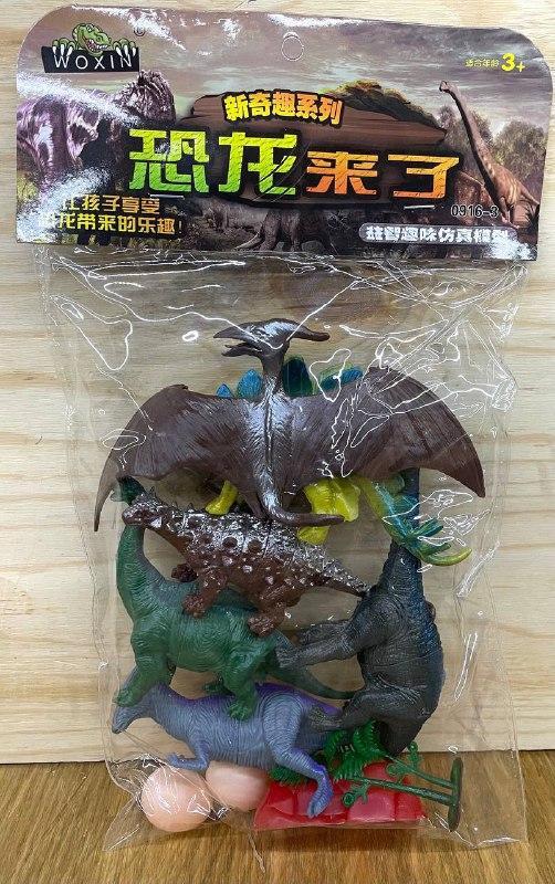 0916-3 Динозавры 6шт +2яйца в пакете 34*20см
