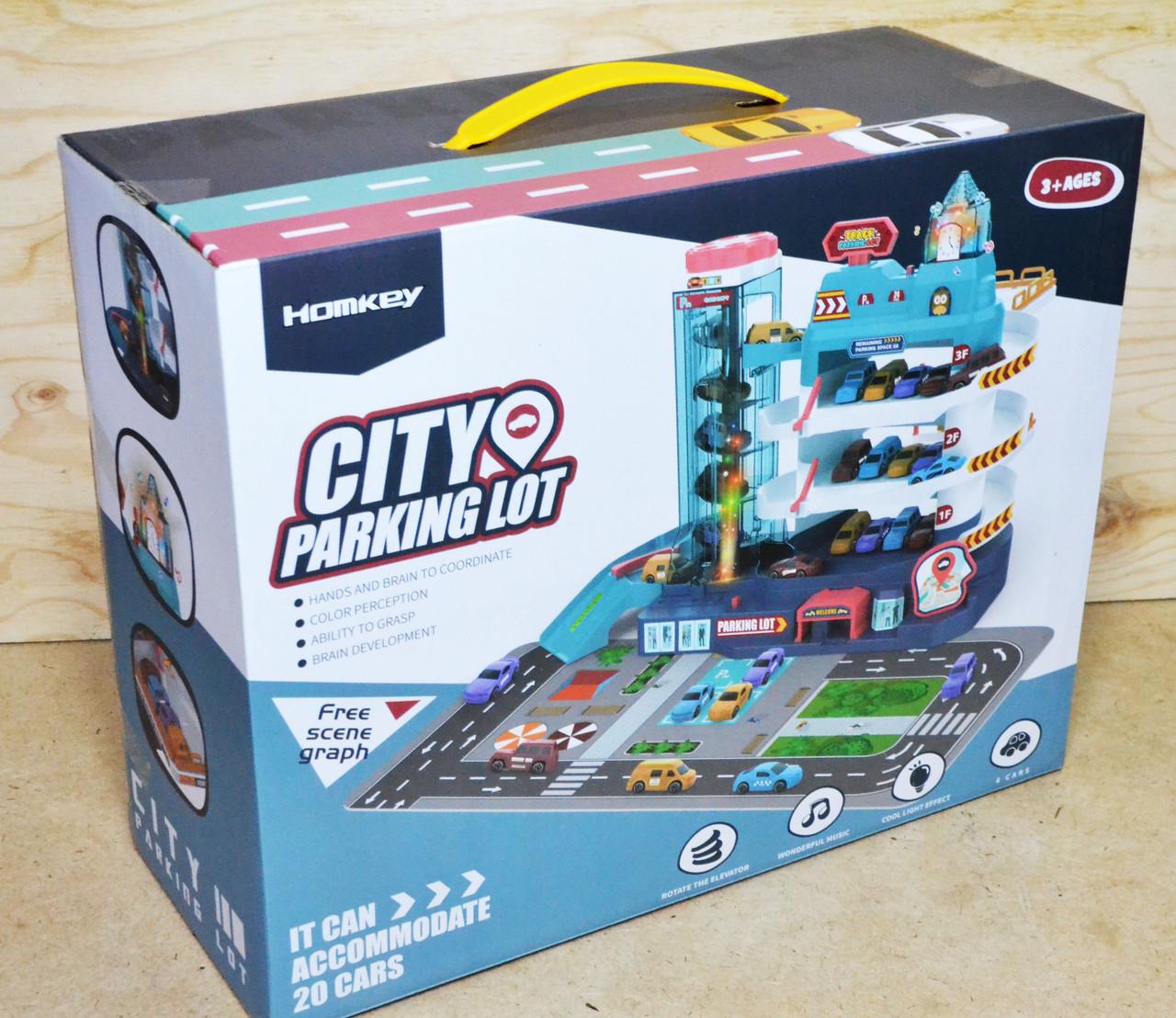 3301A Паркинг City 3этажа, 4 машинки, муз 36*29см