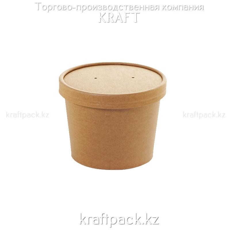Упаковка для супов,каш,мороженного КРАФТ с картонной крышкой 8C 230мл DoEco (25/250)