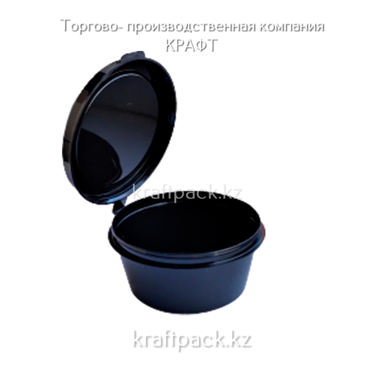 Соусник пластиковый с совмещенной крышкой ЧЕРНЫЙ 80 мл (80/960)