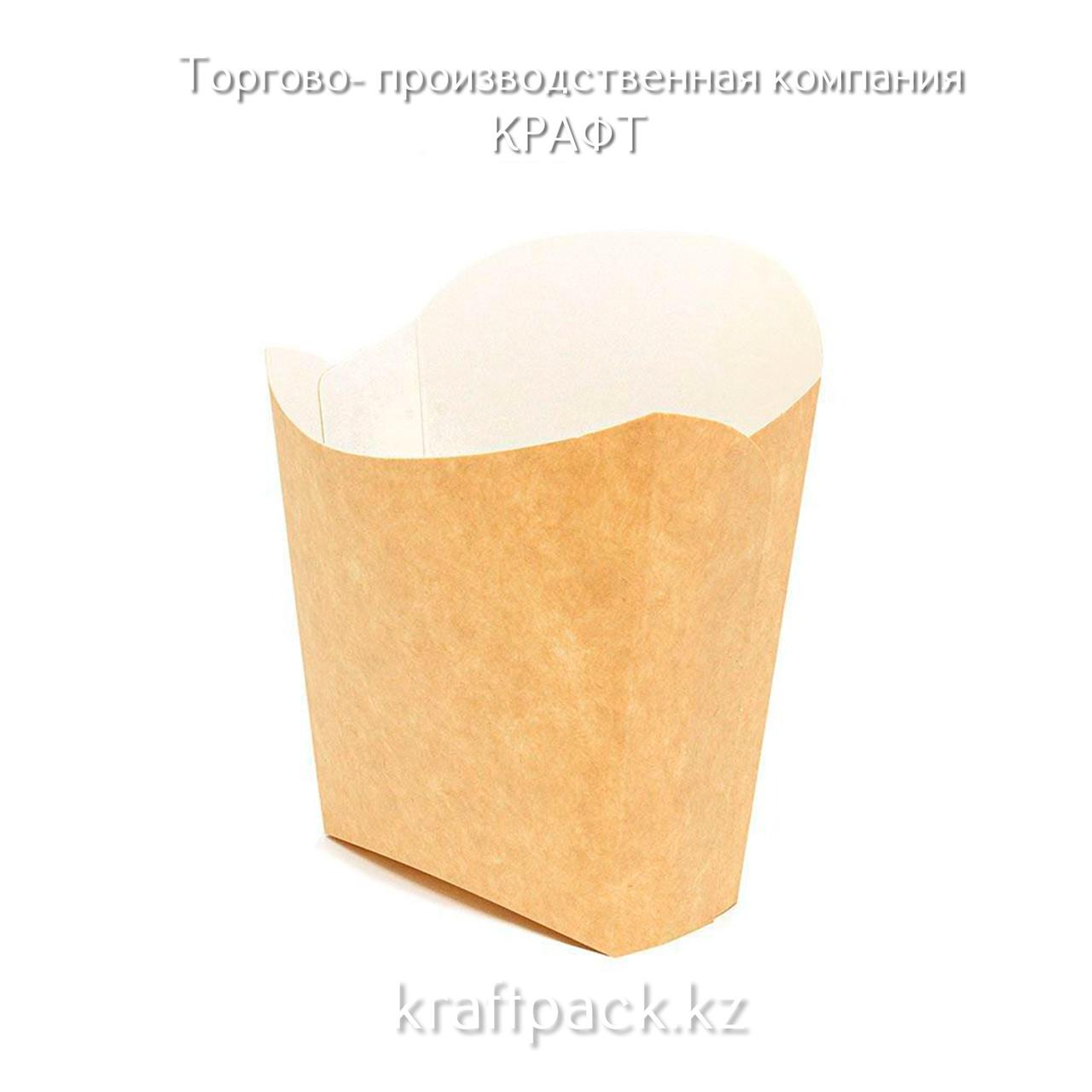 Упаковка для картофеля фри, контейнер BioBox Fry Pack 450мл, Крафт (50/500)