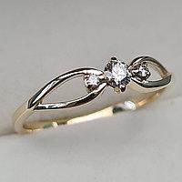 Золотое кольцо с бриллиантами 0.12Сt VS2/H, EX - Cut, фото 1