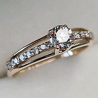 Золотое кольцо с бриллиантами 0.52Сt SI2/K, VG - Cut, фото 1