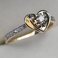 Золотое кольцо с бриллиантами 0.23Сt VS1/I, EX - Cut, фото 1