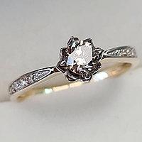 Золотое кольцо с бриллиантами 0.50Сt SI1/N, EX - Cut, фото 1