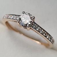Золотое кольцо с бриллиантами 0.48Сt I1/M, EX - Cut