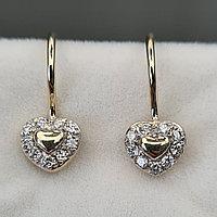 Детские золотые серьги с бриллиантами 0.17Ct VS1/H, Ex-Cut, фото 1