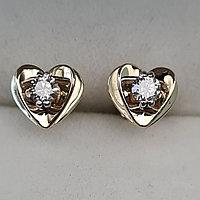 Золотые серьги с бриллиантами 0.20Ct SI1/H, Ex-Cut, фото 1