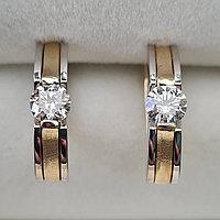 Золотые серьги с бриллиантами 0.62Ct SI2/K, Ex-Cut, фото 1