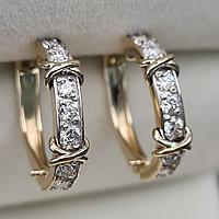 Золотые серьги с бриллиантами 0.53Ct VS1/H, Ex-Cut, фото 1