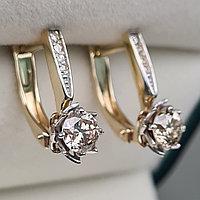Золотые серьги с бриллиантами 0.88Ct VS2-SI1/N, Ex-Cut, фото 1