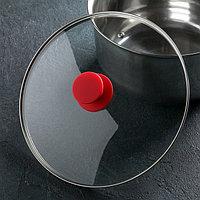 Крышка для сковороды и кастрюли стеклянная , d=26 см, ручка силиконовая МИКС