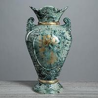 """Ваза напольная """"Кристи"""", под малахит, цвет зеленый, золотистая деколь, 42 см, керамика"""