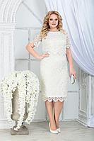 Женское летнее кружевное белое нарядное большого размера платье Ninele 5843 молочный 52р.