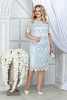 Женское летнее кружевное нарядное большого размера платье Ninele 5843 молочный+голубой 52р.