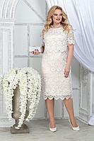 Женское летнее кружевное нарядное большого размера платье Ninele 5843 молочный+пудра 52р.