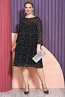 Женское осеннее шифоновое черное нарядное большого размера платье Alani Collection 1488 52р.