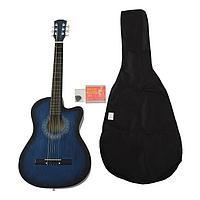 Набор для начинающего гитариста, синий акустическая гитара, чехол, струны