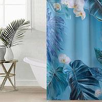 Штора для ванной комнаты Сирень «Дикие тропики», 145×180 см, оксфорд