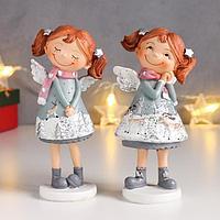 Сувенир полистоун 'Малышка-ангелок в новогоднем платье с оленями' МИКС 15х7х7,5 см (комплект из 2 шт.)