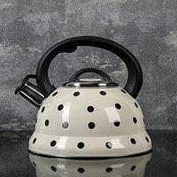 Чайник со свистком Доляна 'Горошек', 2,8 л, цвет айвори