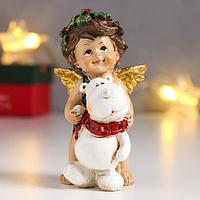 Сувенир полистоун 'Ангел-малыш с рождественским венком, с медвежонком' 10,2х5,7х5 см