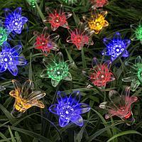 Гирлянда 'Нить' 4.5 м с насадками 'Цветы', тёмная нить, 30 LED, свечение мульти, 2 режима, солнечная батарея