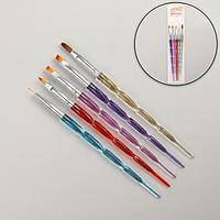 Набор кистей для наращивания и дизайна ногтей, 5 шт, 18 см, цвет разноцветный