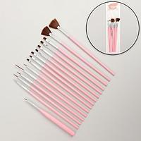 Набор кистей для наращивания и дизайна ногтей, 15 шт, 19 см, цвет розовый
