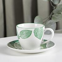 Чайная пара 'Гравюра' 200 мл, блюдце, цвет зеленый (комплект из 6 шт.)