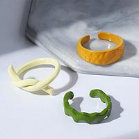 Набор 3 кольца 'Формы', цвет бежевый, зелёный, коричневый,размер МИКС
