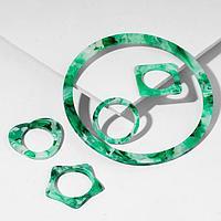 Набор 5 предметов браслет и 4 кольца из акрила 'Тень', цвет бело-зелёный, d6.3, размер 16, 17