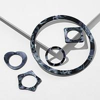 Набор 5 предметов браслет и 4 кольца из акрила 'Тень', цвет чёрно-серый, d6.3, размер 16, 17