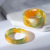 Набор 2 кольца из акрила 'Дуос', цвет коричнево-зелёный, размер 17-17,5