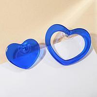Серьги из акрила 'Сердца' контур и закрытый, цвет ярко-синий