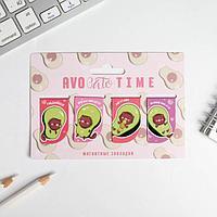 Магнитные закладки AVOcato TIME на открытке, 4 шт