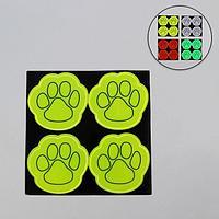 Светоотражающая наклейка 'Лапка', 4 шт на листе, 5,3 x 5,3 см, цвет МИКС