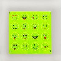 Светоотражающие наклейки 'Смайлы', d 2 см, 16 шт на листе, цвет жёлтый