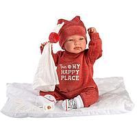 Кукла малышка Тина в терракотовом костюмчике.