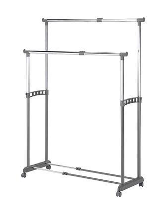 Двойная раздвижная Гардеробная вешалка рейлы для одежды GC2939, фото 2