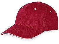 Бейсболка New Castle 6-ти панельная, красный/натуральный