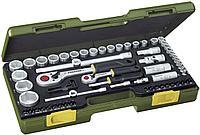 """23294 Proxxon Набор дюймовых головок, трещоток с храповым механизмом 1/4 """"и 1/2"""" , 65 предметов"""