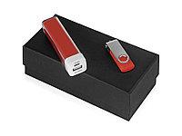 Подарочный набор Flashbank с флешкой и зарядным устройством, красный
