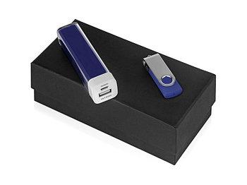 Подарочный набор Flashbank с флешкой и зарядным устройством, синий