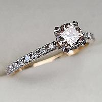 Золотое кольцо с бриллиантом 0,58Сt SI2/N  EX-Cut, фото 1