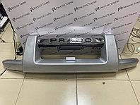 Защита переднего бампера (губа) на Land Cruiser Prado 120 2003-09 Серебро