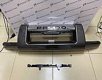 Защита переднего бампера (губа) на Land Cruiser Prado 120 2003-09 Темно-серый цвет
